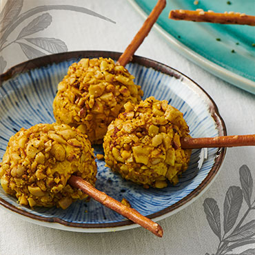 Frischkäse Pops mit Curry und Kurkuma