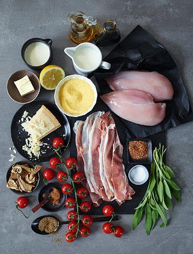 Zutaten für Hähnchen Saltimbocca
