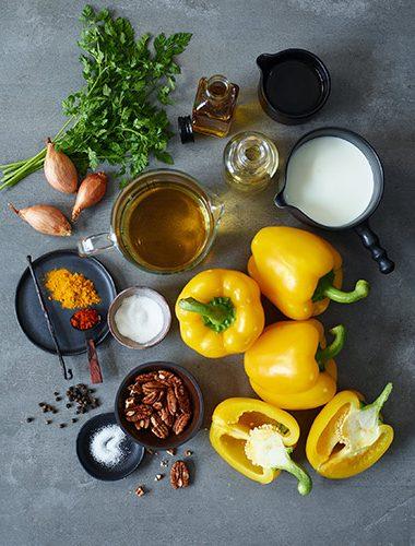 Zutaten für eine Paprikasuppe