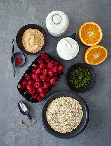 Zutaten für das Quinoa porridge