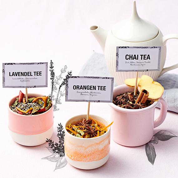 Tee-Etiketten zum Ausdrucken