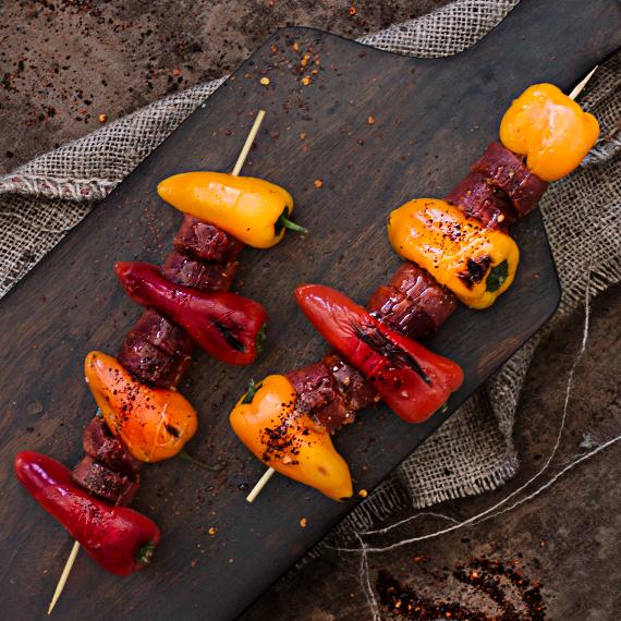 Grillspieß Paprika und Chorizo